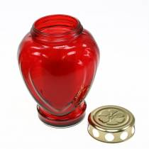 Grave lys hjerte rød 11,5 cm x 8,5 cm H17,5 cm 4stk