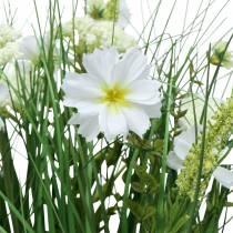 Dekorativt græs med Cosmea blomster i en skål H45cm