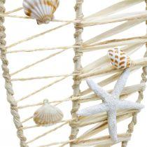 Maritim fiskedekoration med fletværk og skaller, dekorationsbøjle fisk form 38cm