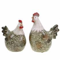 Dekorative figurer høne og hane grå, hvid, rød 10,2 cm x 7 cm H12,7 cm 2stk