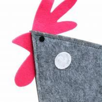 Dekorativ filthan med prikker grå, hvid, lyserød 30 cm x 5 cm H31,5 cm påskedekoration, butiksvindue