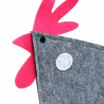 Dekorativ haner lavet af filt med prikker grå, hvid, lyserød 57 cm x 7 cm H58,5 cm vinduesdekoration