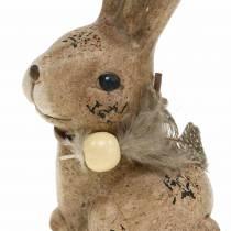 Dekorative figurer kaniner med fjer og træperlebrun blandet 7 cm x 4,9 cm H 10 cm 2stk