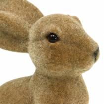 Påske dekoration kanin sidder floket brun H19cm 2stk
