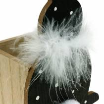 Bunny planter kasse fjer boa sort, hvid prikket træ påskehare