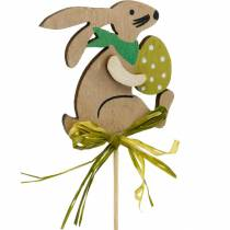 Kanin med påskeæg på en pind, påskeharen blomsterknap, påsketrædekoration, dekorativ stik, blomsterdekoration 12stk