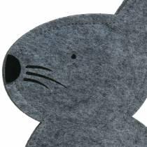 Kanin sidder filtgrå 27 cm x 6 cm H40,5 cm