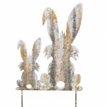 Påske dekoration kanin med barn at stikke rust bjørk look metal 25 × 32 cm