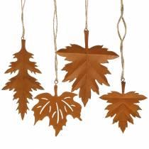 Efterårsblade patina til at hænge 13cm 4stk