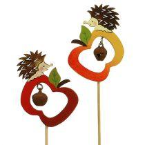 efterårdekoration med pind Hedgehog med Apple 7cm 12stk