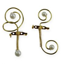 Bryllupspind med perler, guld 8 cm 24stk
