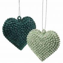 Glitter hjerte indstillet til at hænge smaragd, isblå 6cm x 6,5 cm 12stk