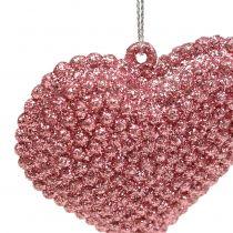 Hjerterosa til at hænge med glimmer 6,5 cm x 6,5 cm 12stk