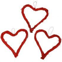Raffia hjerter til at hænge røde 10 cm 12stk