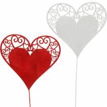 Hjerte på pinden, dekorativt stik hjerte, bryllupsdekoration, Valentinsdag, hjerte dekoration 16stk