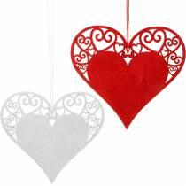 Hjerte at hænge, bryllupsdekoration, vedhæng hjerte, hjerte dekoration, Valentinsdag 12stk