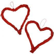 Raffia hjerte til at hænge rødt 15 cm 8stk