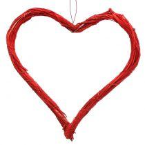 Raffia hjerte til at hænge rød 20 cm 6stk