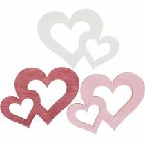 Træhjerter, gaver til borddekorationer, Valentinsdag, bryllupsdekorationer, dobbelt hjerte 72stk