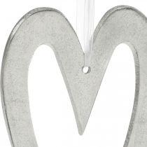 Dekorativt hjerte til ophængning af sølvaluminium bryllupsdekoration 22 × 12cm