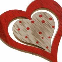 Hjerterød, hvid, naturlig assorteret træ 4,5x4,5cm 24stk