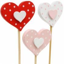 Dekorativt stik hjerte, bryllupsdekoration, blomster dekoration til Valentinsdag, hjerte dekoration 24stk