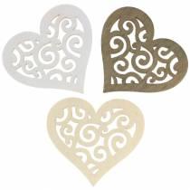 Borddekoration hjerte træ hvid, fløde, brun 4cm 72p