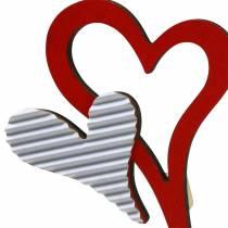 Hjertestifter af træ rød, hvid 38cm 12stk