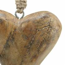 Hjerte til at hænge mango natur, gylden 14 × 11cm 2stk