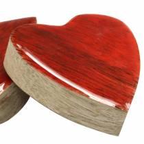 Hjerter lavet af mango træ glaseret naturlig, rød 4,3 cm × 4,6 cm 16p