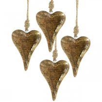 Træhjerter med guldindretning, mangotræ, dekorative vedhæng 10cm × 7cm 8stk