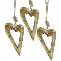 Deco hjerte, mango træ guld effekt, træ dekoration til at hænge 13,5 cm × 7 cm 4 stk