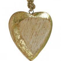 Hjerter at hænge, mangotræ, træ dekoration med guld effekt 8,5 cm × 8 cm 6 stk