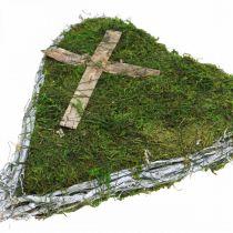Gravdekoration hjerte vinstokke, mos med kors til gravopstilling 30 × 20cm