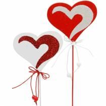 Hjerte på pinden rød, hvid Dekoherz Dekostecker Valentinsdag 16stk