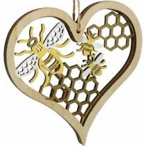 Dekorative hjertebier gul, gyldent træhjerte til hængende sommerdekoration 6stk