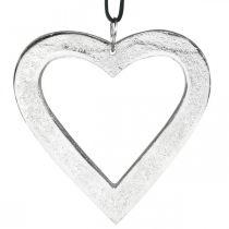 Hjerte til at hænge, metaldekoration, jul, bryllupsdekoration sølv 11 × 11cm