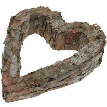 Deco hjerte åben fyrbark efterårsdekoration gravdekoration 30 × 24cm
