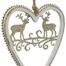 Hjerter til at hænge med indlagt træ, plastik hvid, gylden, Ø9,2cm H12cm 4stk