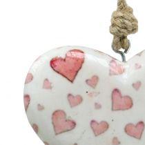 Dekorativt hængende keramisk hjerte 11 cm x 10 cm