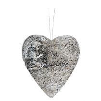 Hjerter grå med tekst 10,5 cm 4stk