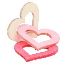 Spredende hjerter lyserøde, lyserøde, naturlige 4 cm 72stk