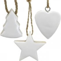 Juletræspynt træblanding hjertestjerner gran hvid, natur 5cm 27p