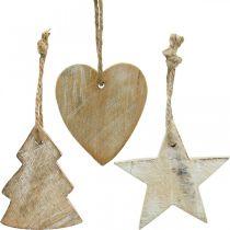 Trævedhæng, gran / hjerte / stjerne, juledekorationssæt H7,5 / 8cm 9stk