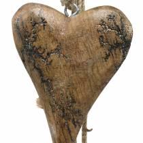Træhjerter med glitterindlæg på en streng til at hænge naturlig L60cm