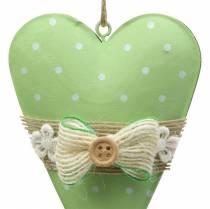 Hjertebøjle metal limegrøn, hvid assorteret H11cm 4stk