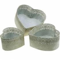 Planter Skål Heart Metal Planter Vintage Sæt med 3