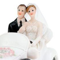 Brudefigur brud og brudgom i en cabriolet 15cm