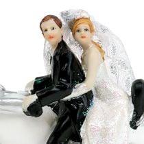 Brudefigur brud og brudgom på motorcykel 9 cm