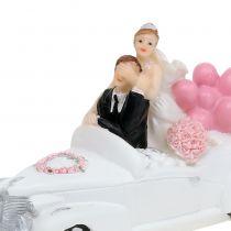 Brudefigur brud og brudgom i bilen 16cm